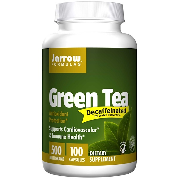 Jarrow Formulas, Green Tea, Decaffeinated, 500 mg, 100 Capsules (Discontinued Item)