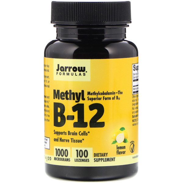 Jarrow Formulas, Methyl B-12, saveur citron, 1 000 mcg, 100 pastilles