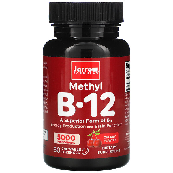 Jarrow Formulas, Methyl B-12, Cherry Flavor, 5,000 mcg, 60 Chewable Lozenges