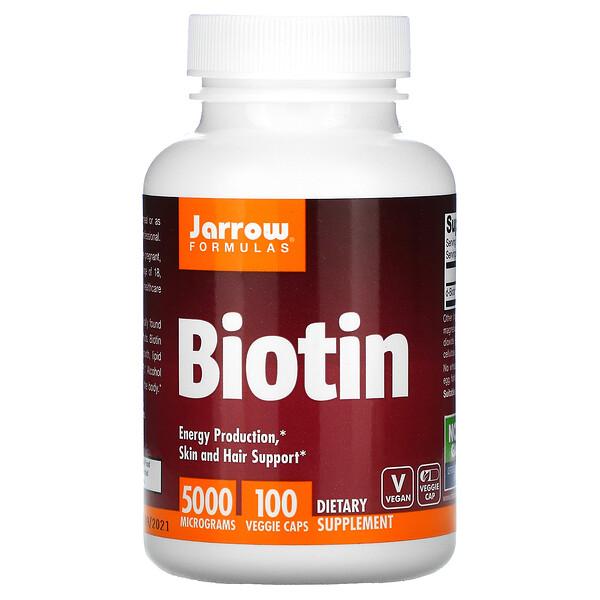 Jarrow Formulas, Biotin, 5,000 mcg, 100 Veggie Caps