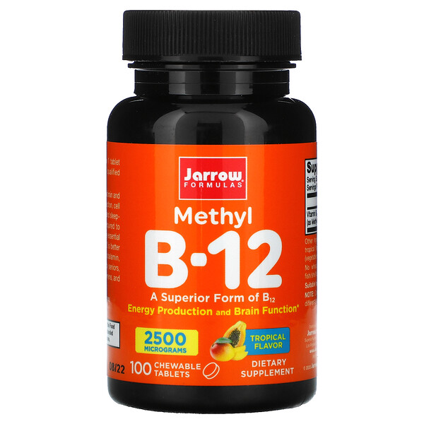 Jarrow Formulas, Methyl B-12, Tropical Flavor, 2,500 mcg, 100 Chewable Tablets