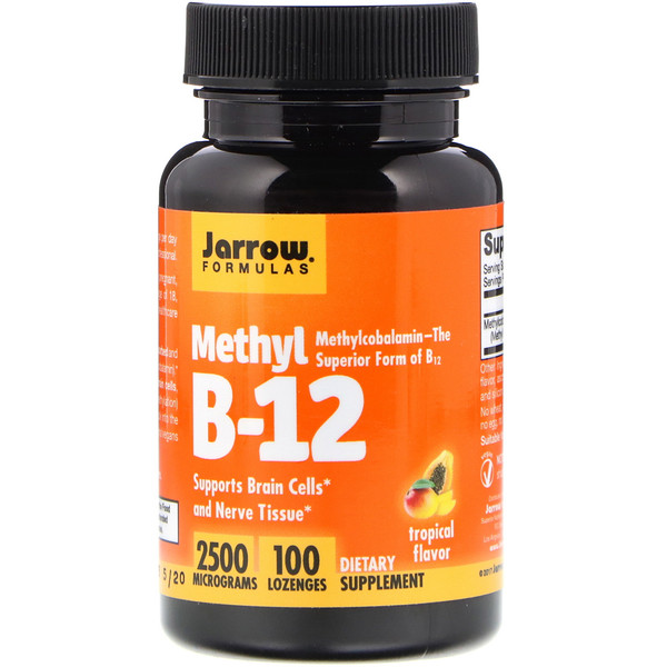 "Methyl B-12, Tropical Flavor, 2,500 מק""ג, 100 לכסניות"