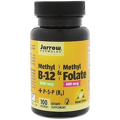 Jarrow Formulas, Methyl B-12 & Methyl Folate, 1,000 mcg / 400 mcg, Lemon Flavor, 100 Lozenges