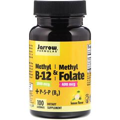 Jarrow Formulas, Methyl B-12 & Methyl Folate, Lemon Flavor, 1000 mcg / 400 mcg, 100 Lozenges
