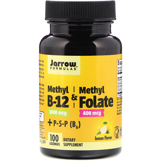 Jarrow Formulas, Méthyle B-12 et Methyl Folate, goût citron, 1000 mcg / 400 mcg, 100 losanges