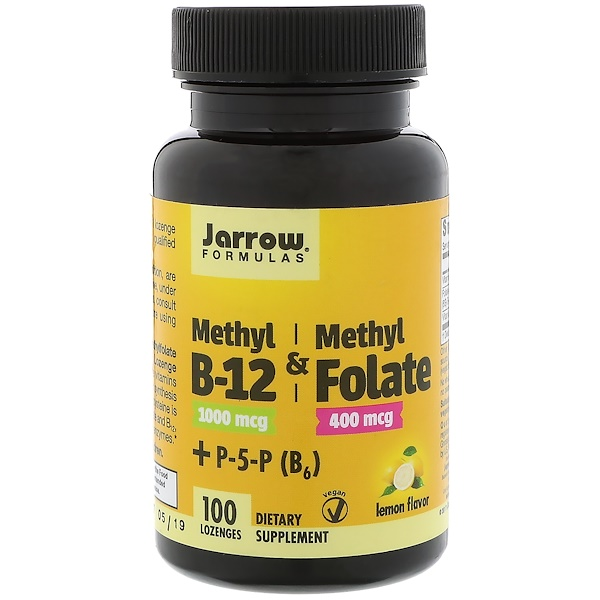 Jarrow Formulas, Methyl B-12 & Methyl Folate, 1,000 mcg / 400 mcg, Lemon Flavor, 100 Lozenges