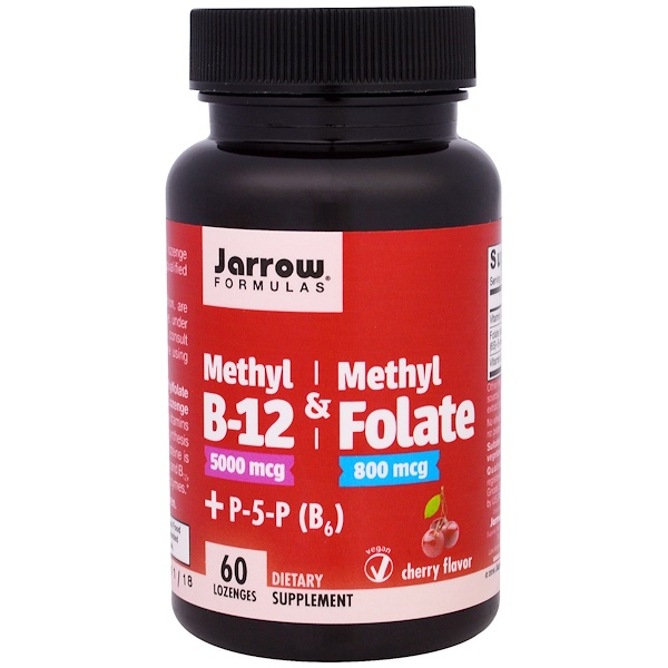 Jarrow Formulas, Methyl B-12 & Methyl Folate, 5000 mcg/800 mcg,  Cherry Flavor, 60 Lozenges