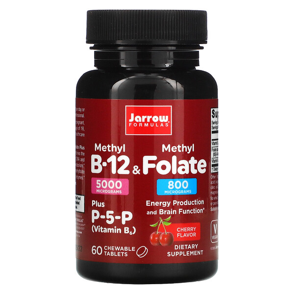 Jarrow Formulas, Methyl B-12 & Methyl Folate, Cherry Flavor, 5000 mcg / 800 mcg, 60 Chewable Tablets