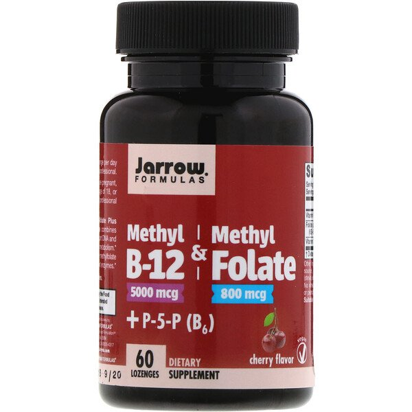 Jarrow Formulas, Methyl B-12 & Methyl Folate, Cherry Flavor, 5000 mcg / 800 mcg, 60 Lozenges