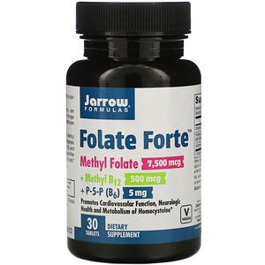 Jarrow Formulas, Folate Forte, Methyl Folate + Methyl B12 + P-5-P,  30 Tablets