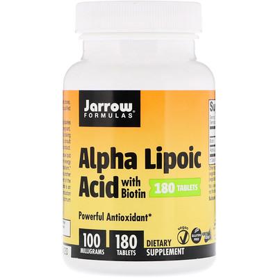 Jarrow Formulas Alpha Lipoic Acid with Biotin, 100 mg, 180 Tablets
