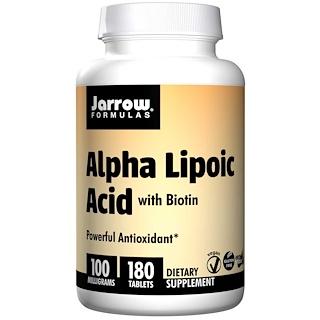 Jarrow Formulas, Ácido alfa lipoico, con biotina, 100 mg, 180 comprimidos de fácil disolución