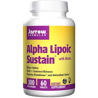 Jarrow Formulas, Alpha Lipoic Sustain 300, mit Biotin, 300 mg, 60 Sustain Tabletten