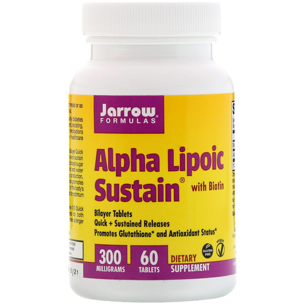 Jarrow Formulas, Alpha Lipoic Sustain with Biotin, 300 mg, 60 Tablets