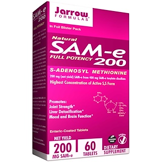 Jarrow Formulas, Natural SAM-e (S-Adenosyl-L-Methionine) 200, 200 mg, 60 Enteric-Coated Tablets
