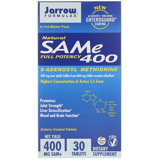Jarrow Formulas, Природный  SAM-e (S-Adenosyl-L-Methionine) 400, 400 мг, 30 таблеток м энтеросолюбильным покрытием