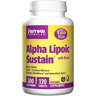 Jarrow Formulas, Alfa lipóico prolongado, con Biotin, 300 mg, 120 Tabletas