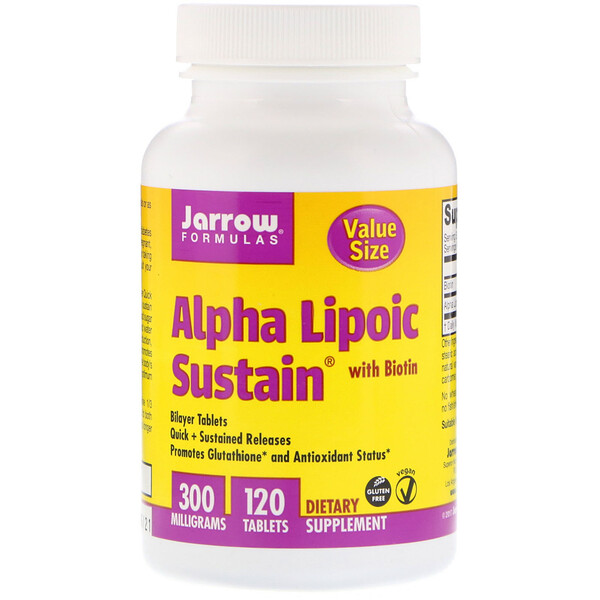Jarrow Formulas, Alpha Lipoic Sustain, with Biotin, 300 mg, 120 Tablets