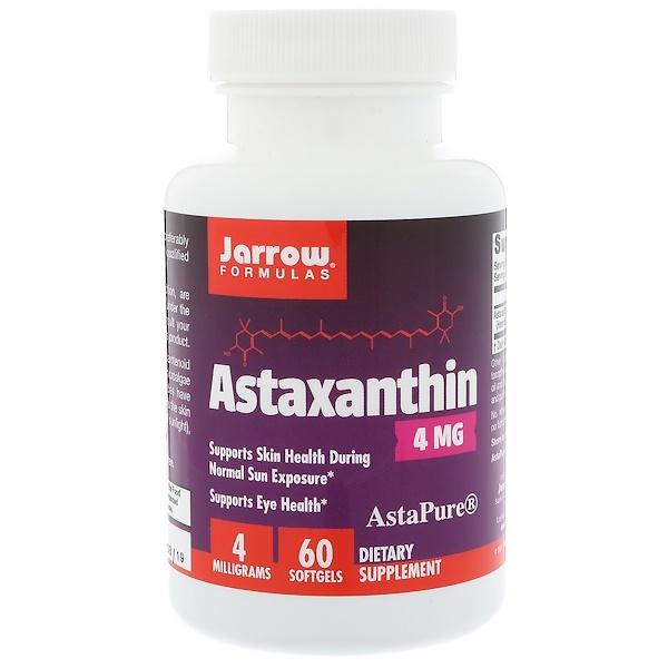 Jarrow Formulas, アスタキサンチン, 4 mg, ソフトジェル 60 粒