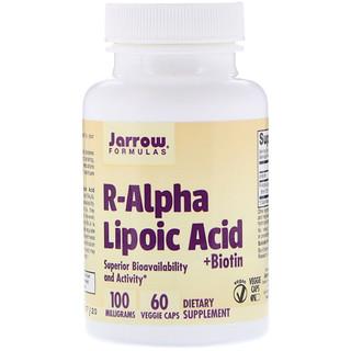 Jarrow Formulas, R-альфа липоевая кислота + биотин, 60 вегетарианских капсул