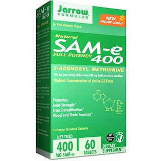 Jarrow Formulas, SAM-e (S-Adenosyl-L-Methionine) 400, 60 Enteric-Coated Tablets