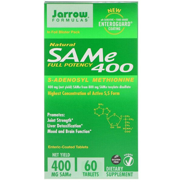 SAM-e (S-Adenosil-L-Metionina) 400, 60 Tabletas