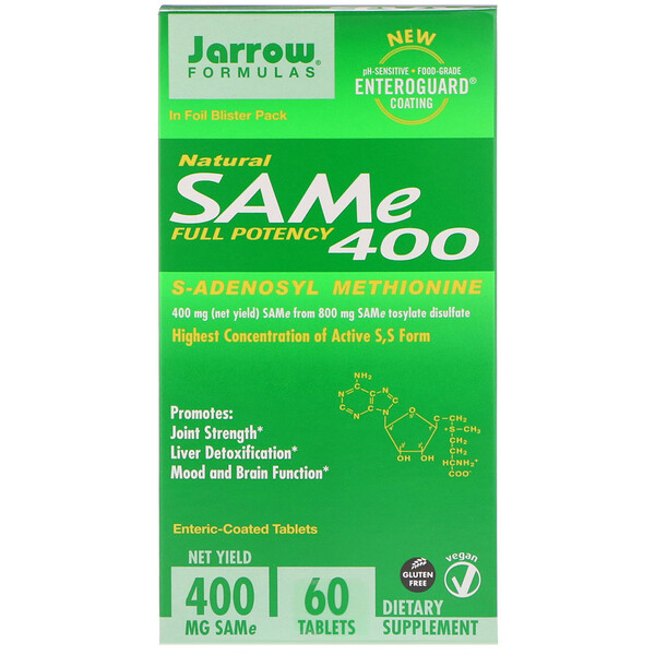 Jarrow Formulas, Natural SAM-e (S-Adenosyl-L-Methionine) 400, 400mg, 60 Enteric-Coated Tablets