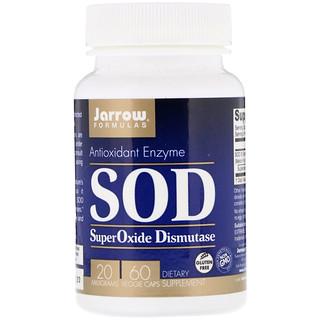 Jarrow Formulas, Супероксид Дисмутаза (SOD), 20 мг, 60 растительных капсул