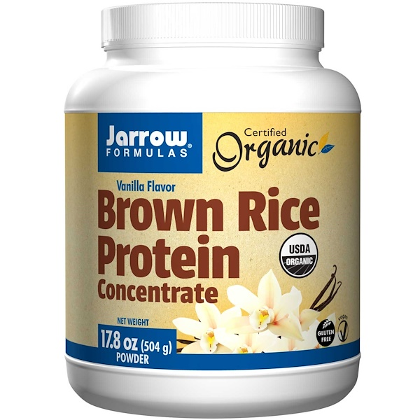 Jarrow Formulas, Organic Brown Rice Protein Concentrate, Vanilla Flavor, 17.8 oz (504 g) Powder