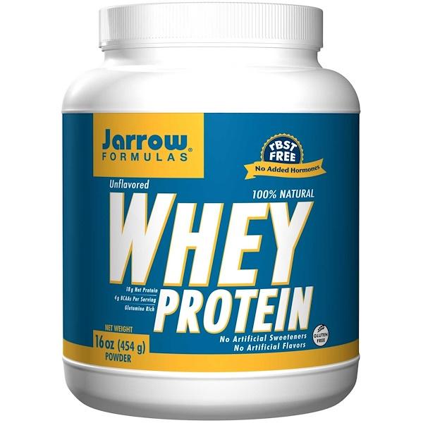 Jarrow Formulas, 100% 天然ホエイ・プロテイン・パウダー、味付け無し、16 オンス (454 g)
