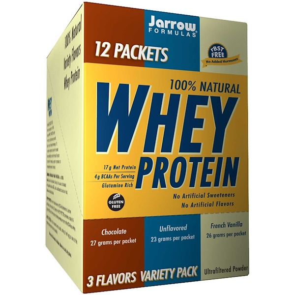 Jarrow Formulas, 100% Natural Whey Protein, 3 Flavors Variety Pack, 12 Packets (Discontinued Item)