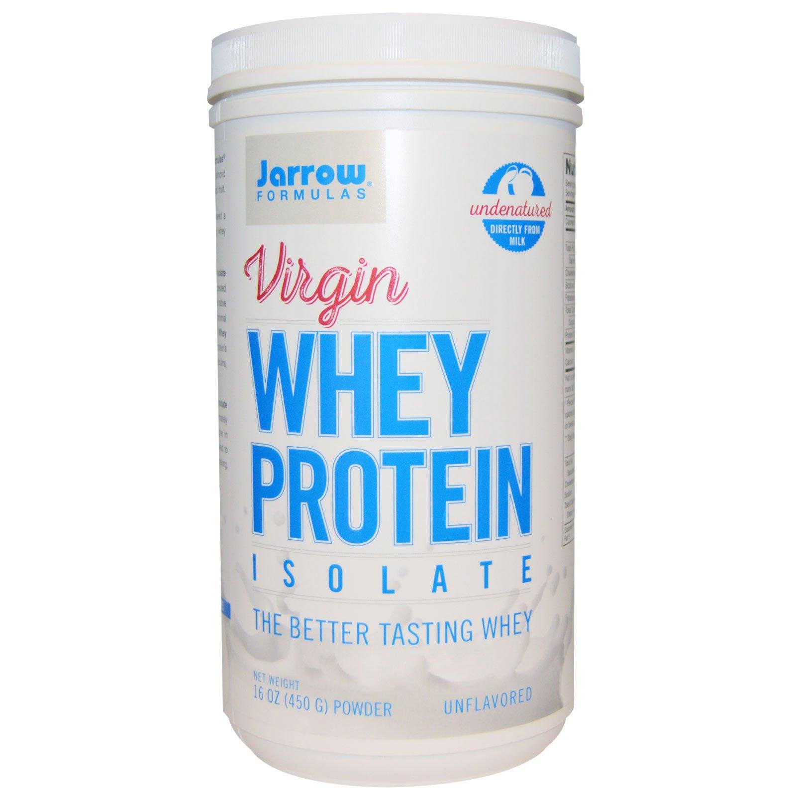 Jarrow Formulas, Virgin, изолят сывороточного протеина, порошок, без добавок, 16 унций (450 г)