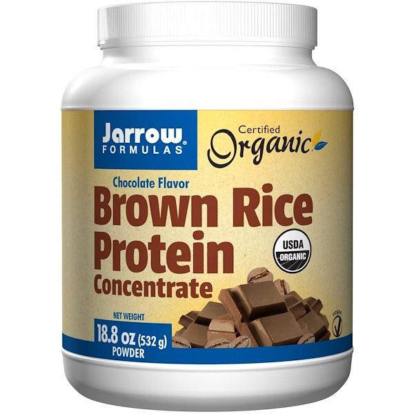 Jarrow Formulas, Белковый концентрат из органического коричневого риса, со вкусом шоколада, порошок, 18,8 унций (532 г)