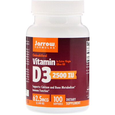 Витамин D3, холекальциферол, 2500 МЕ, 100 мягких гелевых капсул