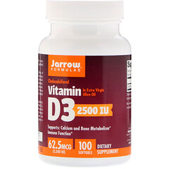 Jarrow Formulas, Vitamin D3, 62.5 mcg (2,500 IU), 100 Softgels