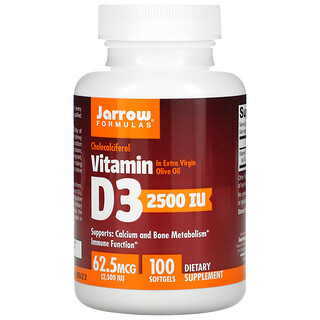 Jarrow Formulas, Vitamin D3, Cholecalciferol, 62.5 mcg (2,500 IU), 100 Softgels