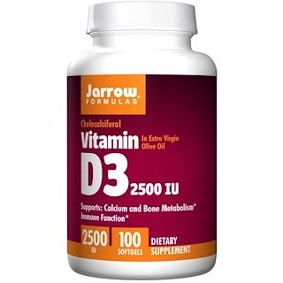 Jarrow Formulas, Vitamin D3, 2500 IU, 100 Softgels