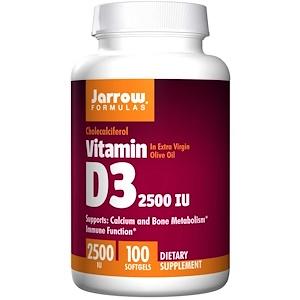Jarrow Formulas, ビタミン D3, 2500 IU, 100 ソフトジェル