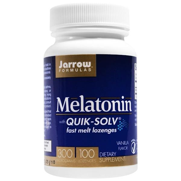 Jarrow Formulas, Melatonin, Quik-Solv, 300 mcg, Vanilla Flavor,  100 Lozenges (Discontinued Item)