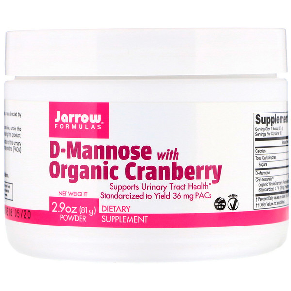 Jarrow Formulas, D-Mannose with Organic Cranberry, 2.9 oz (81 g)