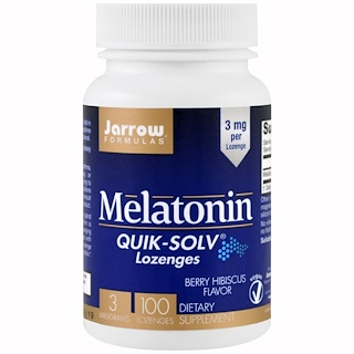 Jarrow Formulas, Melatonin Quick-Solv, 3 mg, Berry Hibiscus Flavor, 100 Lozenges