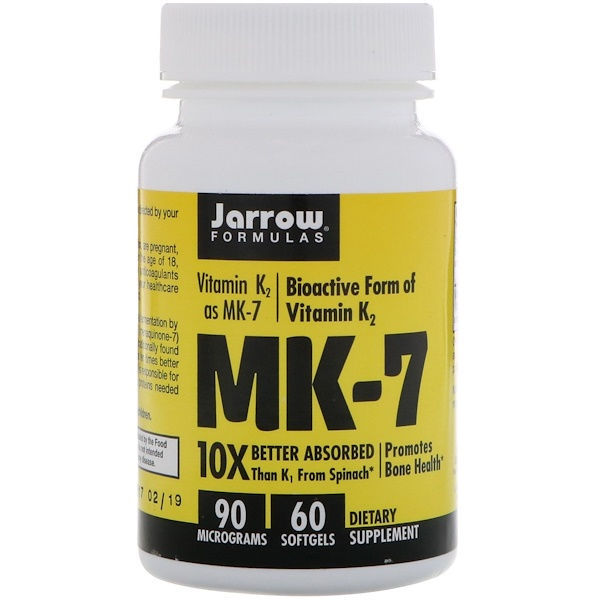 Jarrow Formulas, MK-7, Vitamin K2 as MK-7, 90 mcg, 60 Softgels