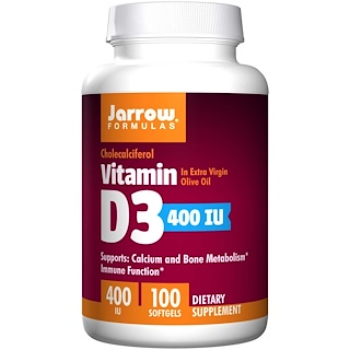Jarrow Formulas, Vitamin D3, 400 IU, 100 Softgels