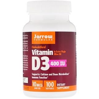 Jarrow Formulas, 維生素D3,膽鈣化醇,400國際單位,100粒軟膠囊