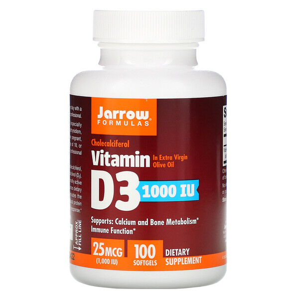 Vitamin D3, Cholecalciferol, 25 mcg (1,000 IU), 100 Softgels