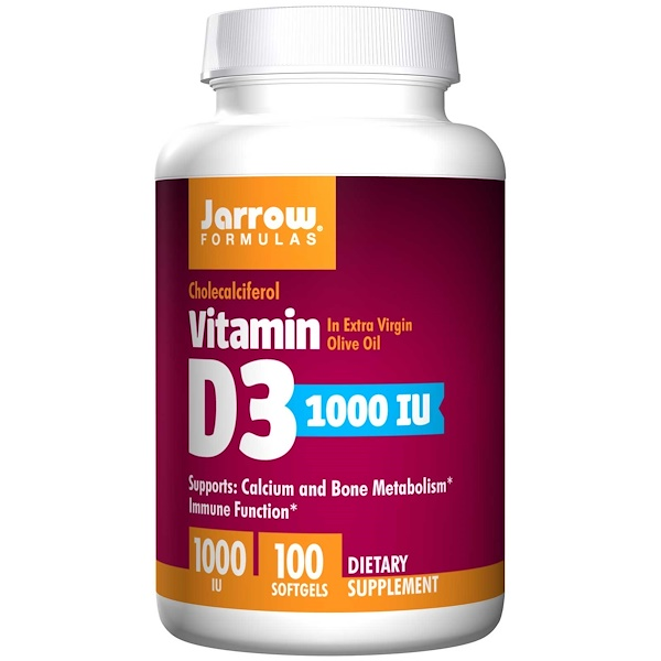 Jarrow Formulas, Vitamin D3, Cholecalciferol, 1,000 IU, 100 Softgels
