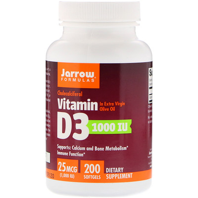 Vitamin D3, Cholecalciferol, 1,000 IU, 200 Softgels