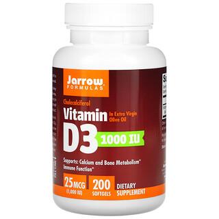 Jarrow Formulas, Vitamin D3, Cholecalciferol, 25 mcg (1,000 IU), 200 Softgels