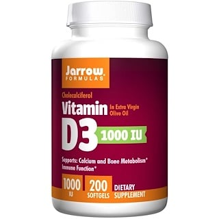 Jarrow Formulas, Vitamin D3, 1000 IU, 200 Softgels