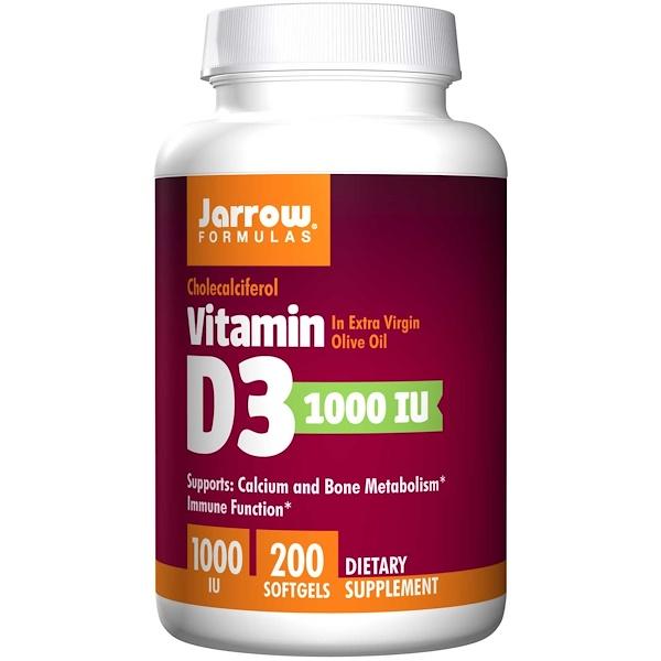 Jarrow Formulas, Vitamin D3, 1000 IU, 200 Softgels
